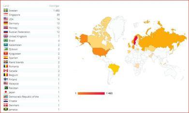 Bloggens geografiska utbredning hittills