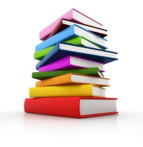 Färglada böcker med vit bakgrund